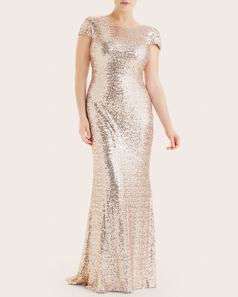Badgley Mischka Rose Gold Sequin Gown Plus Size Sizes 10-20 – 11 ...