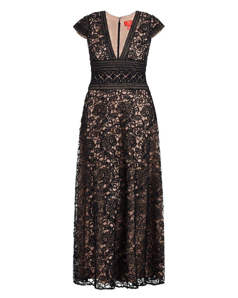 Cap Sleeve V-Neck Long Lace Dress
