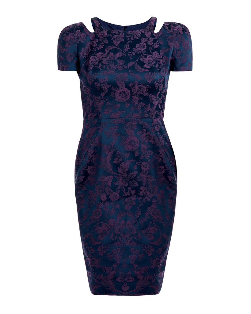 Stretch Jacquard Sheath Dress
