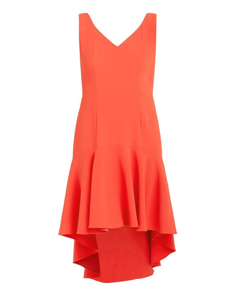 Spain Coral Ruffle Hem Dress