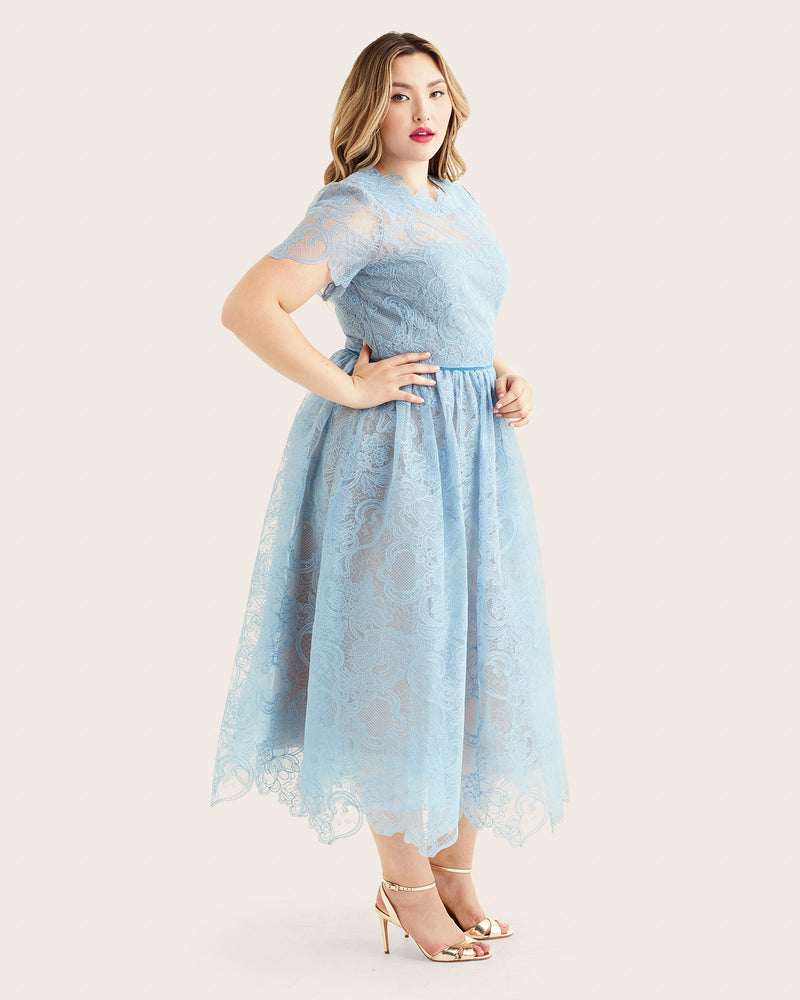 Marchesa Notte-Dress Light Blue Short sleeve wired lace tea length ...