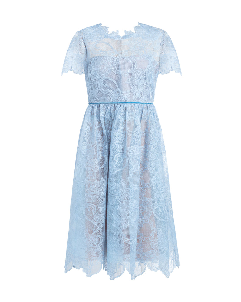 Short Sleeve Wired Lace Tea Length Gown