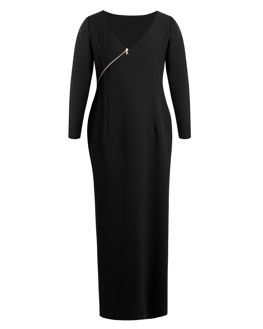Victoire Long Sleeve Gown with Gold Zipper