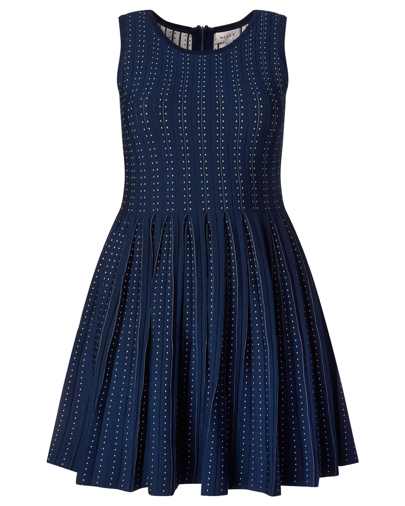 Pleated Dot Flare Dress