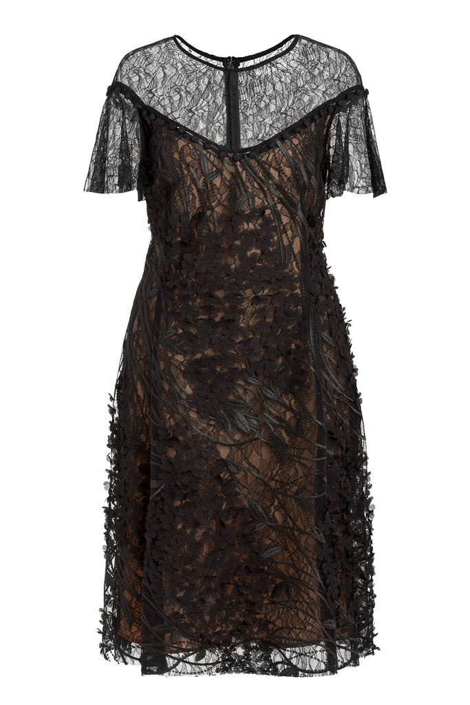 Wing Sleeve Lace Dress