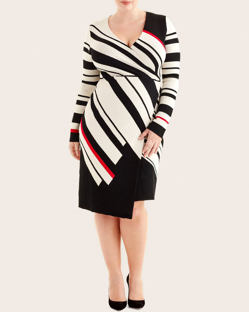 Diagonal Stripe Wrap Dress