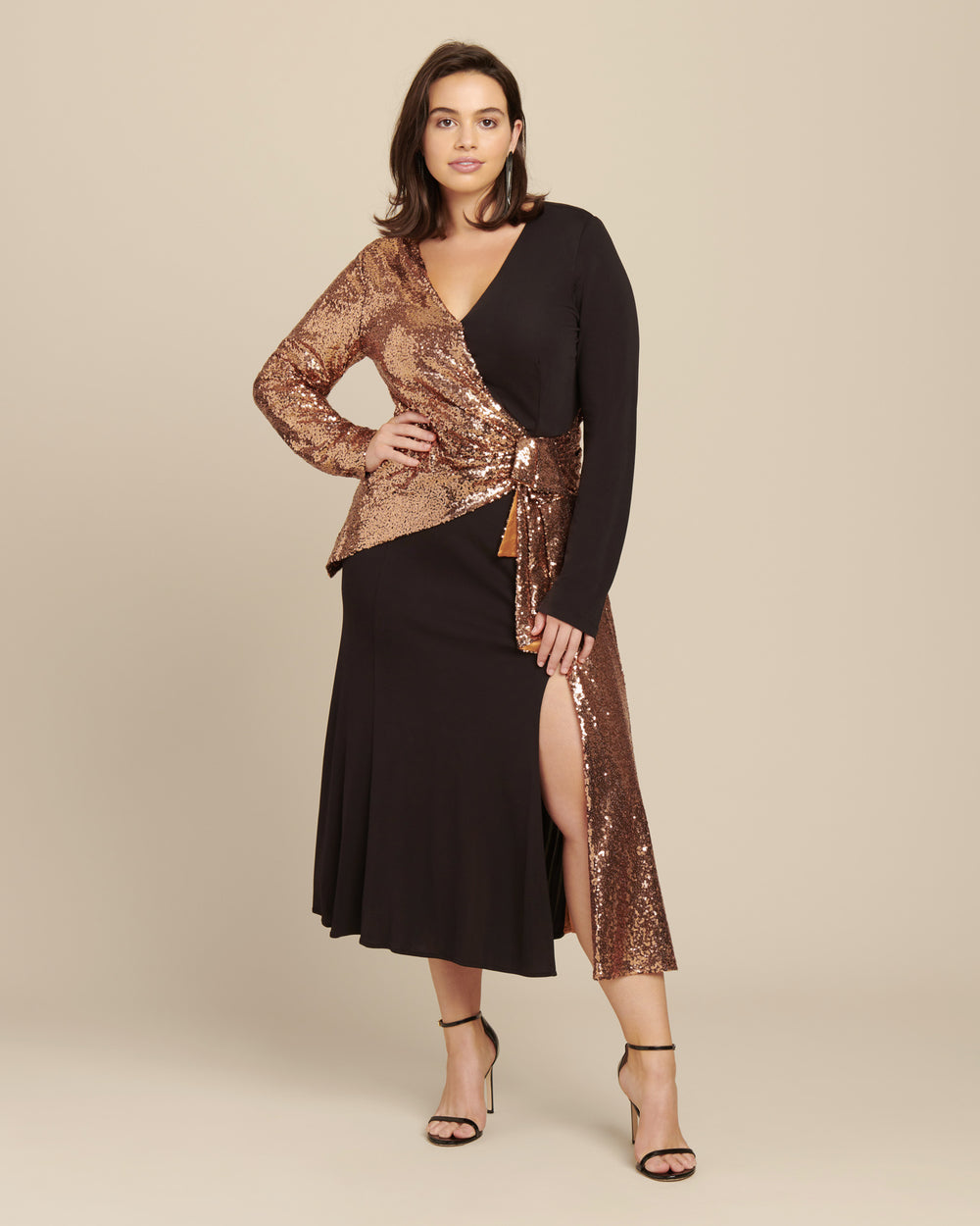 Long Sleeve Wrap Front Combo Dress