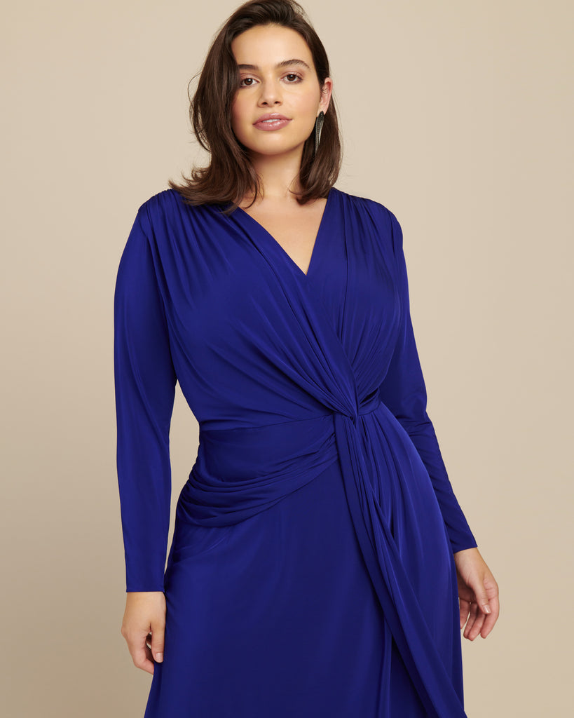 Jersey V-Neck Twist Long Sleeve Cocktail Dress