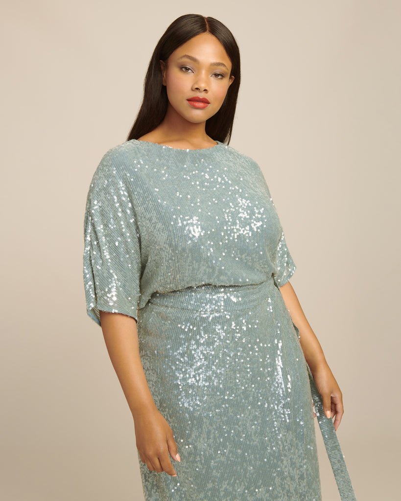 Sequin Viscose Belted Wrap Skirt