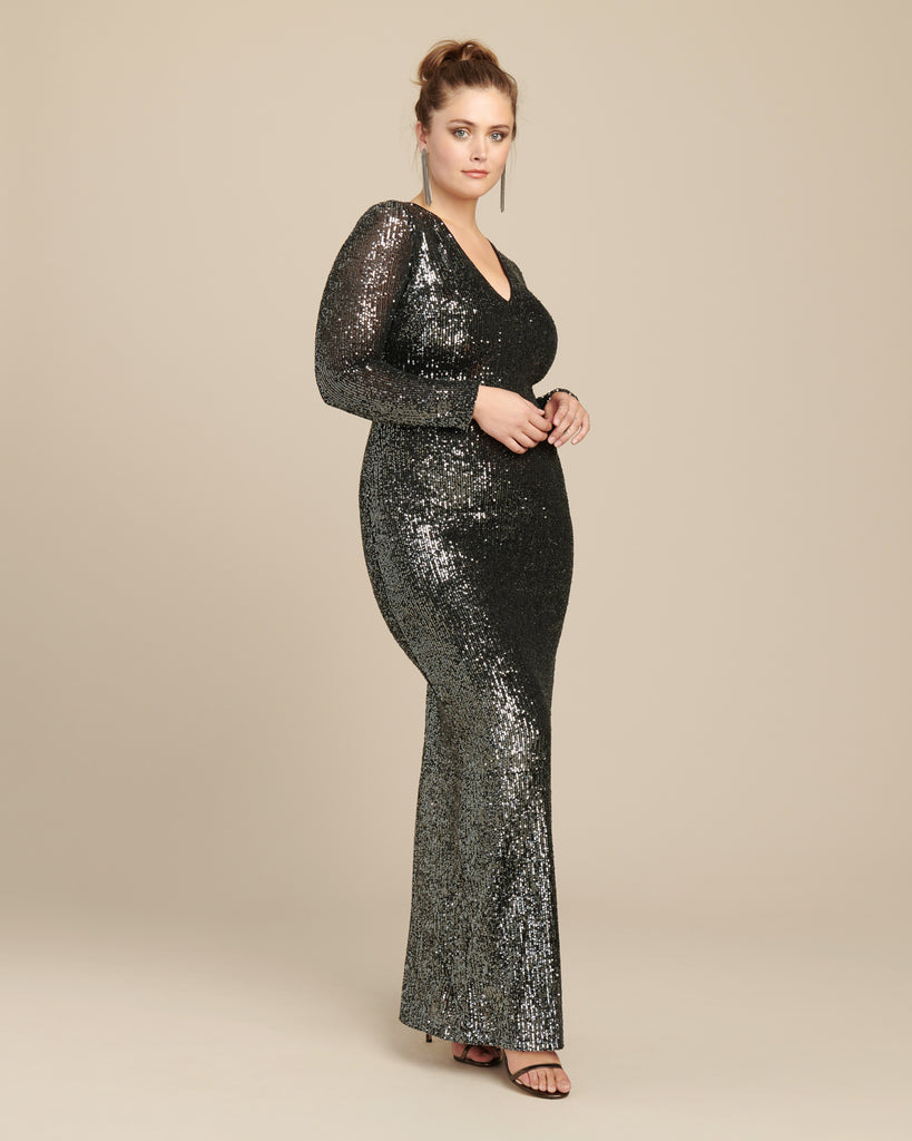 Stretch Sequin Long Sleeve Gown
