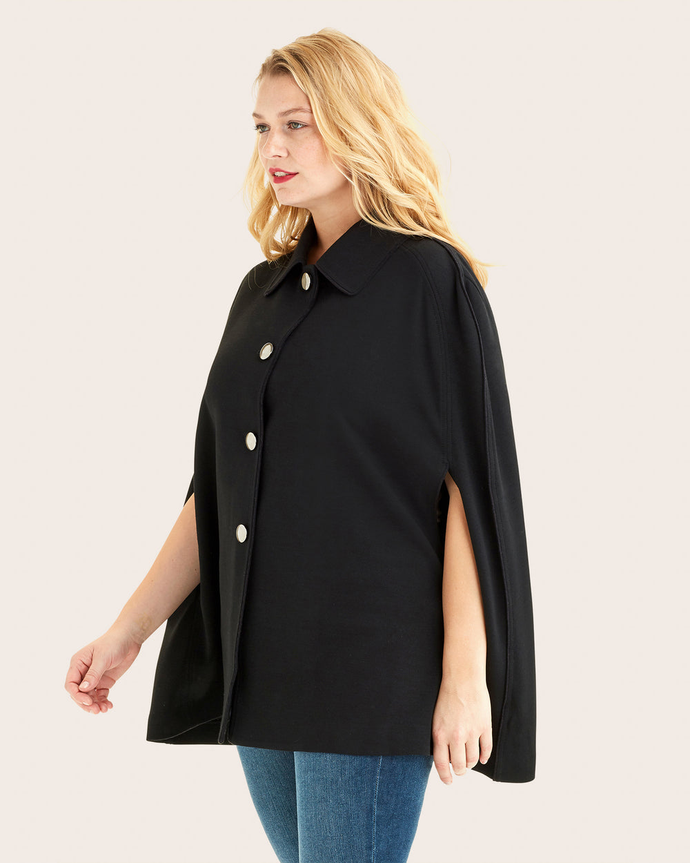 Knit Collared Cape Button Front