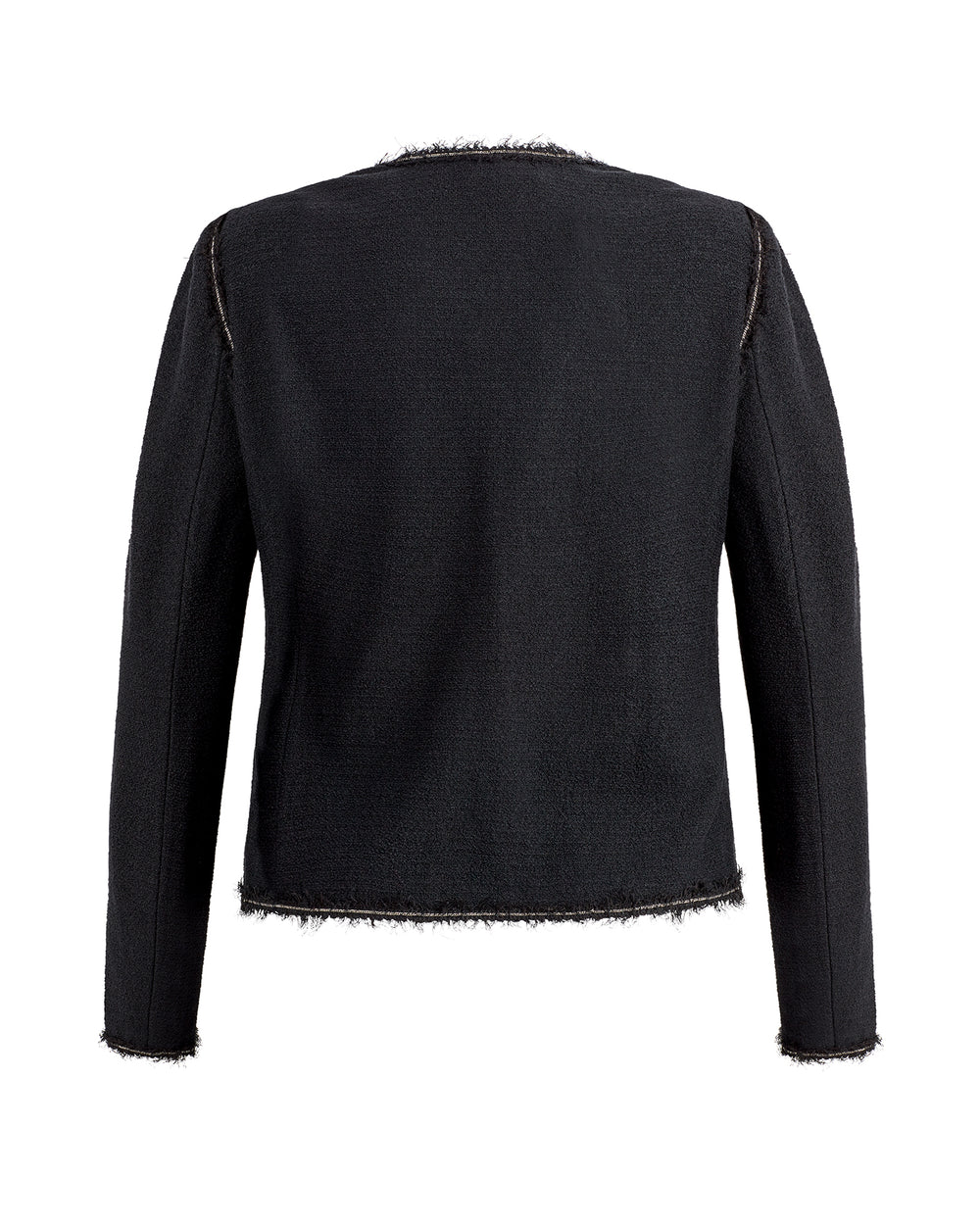 Boucle Knit Jewel Neck 3/4 Sleeve Jacket