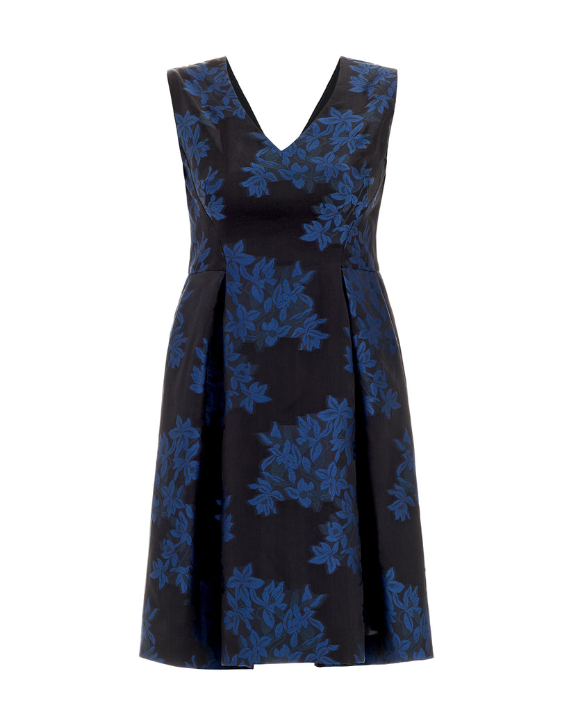 Jaquard Fit and Flare Cocktail Dress Blue Plus Size Inclusive