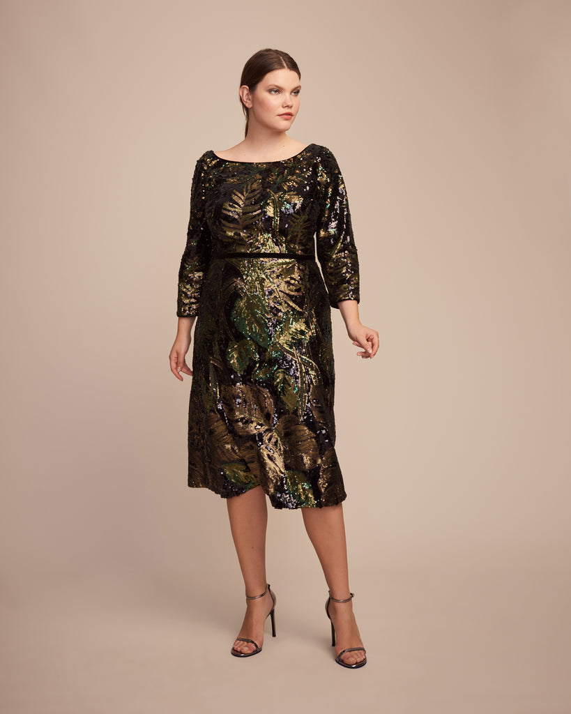 Sequin Tea-Length Cocktail Dress