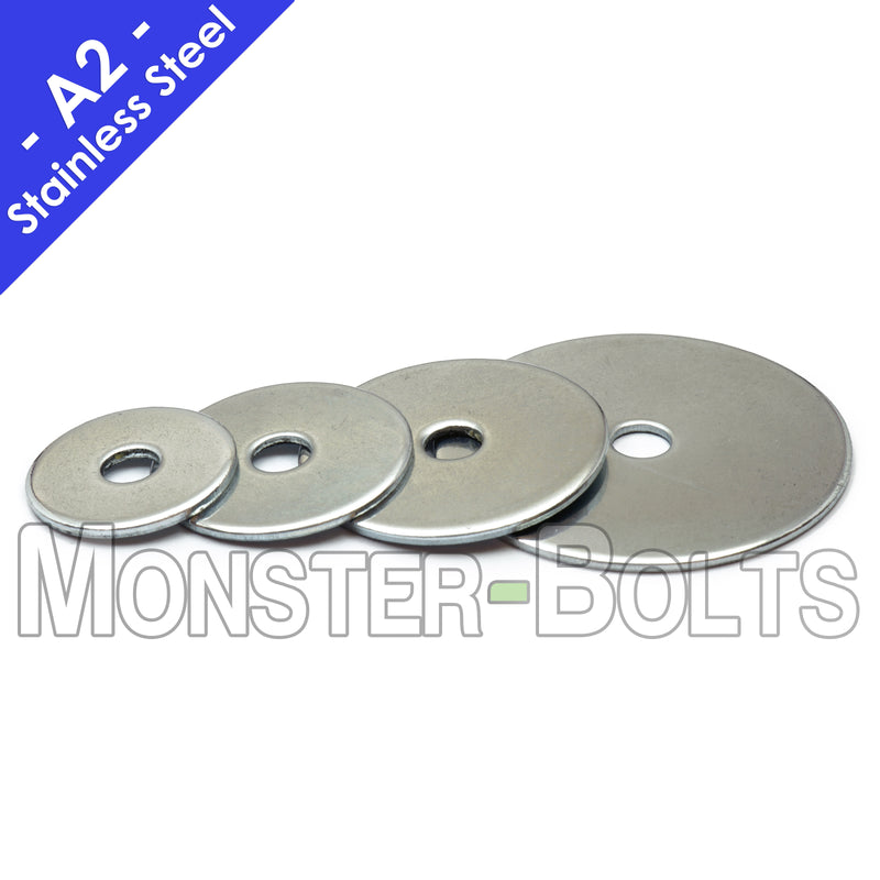 "US / Inch - Stainless Steel Fender Washers, 18-8 (304) - 1/4"" & 5/16"""