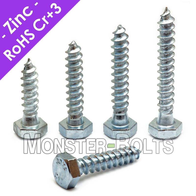 "1/4"" Hex Lag Bolts / Lag Screws, Zinc Plated steel Cr+3 RoHS compliant"