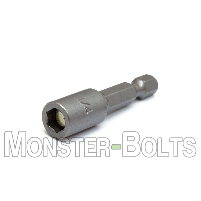 "1/4"" Magnetic Nutsetters, 1/4"" Hex Power Shank w/ Industrial Grade Magnet - Monster Bolts"