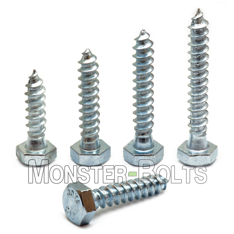 "1/4"" Hex Lag Bolts / Lag Screws, Zinc Plated steel Cr+3 RoHS compliant - Monster Bolts"