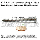 #14 Stainless Steel Phillips Pan Head Self-Tapping Type A Sheet Metal Screws 18-8