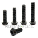 MonsterBolts button head socket cap screws w black oxide staged on end