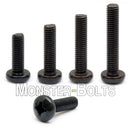 M8 Phillips Pan Head Machine screws, Steel w/ Black Oxide and Oil DIN 7985A Coarse Thread - Monster Bolts