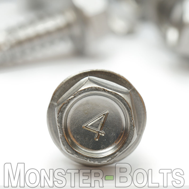 "#14 (1/4"") Hardened Stainless Steel Tek Screws - Indent HWH Hex Washer Head Unsloted, #3 Point Self Drilling"