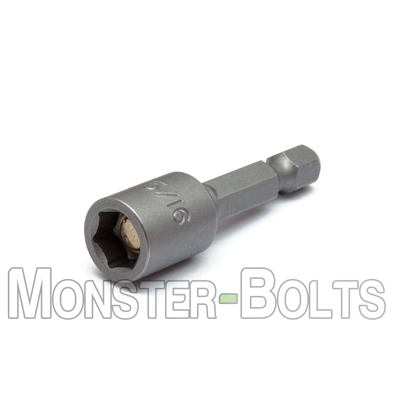 "5/16"" Magnetic Nutsetters, 1/4"" Hex Power Shank w/ Industrial Grade Magnet - Monster Bolts"