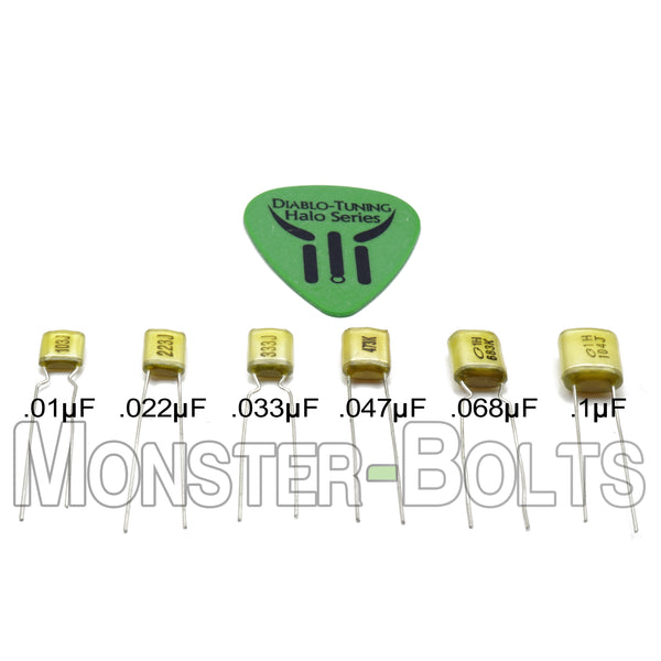 Guitar Tone Control Capacitors - High Quality Polyester Film / Foil Capacitors - Monster Bolts