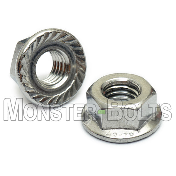 Hex Serrated Flange Nuts - Stainless Steel A2 (18-8) DIN 6923 / ISO 4161