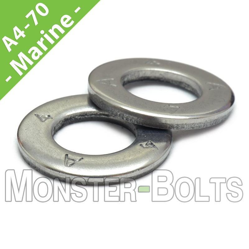 Marine Grade Stainless Steel Flat Washer, A4 (316) - DIN 125A (125 A)