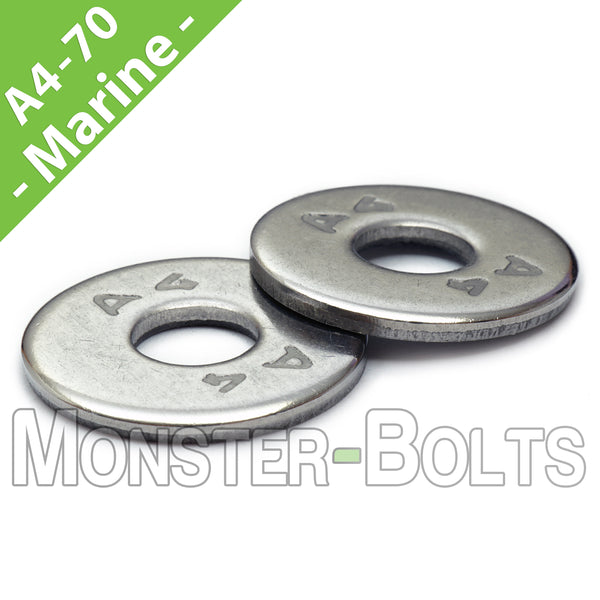 Marine Grade Stainless Steel Fender Washers, A4 (316) - Metric DIN 9021