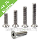 M10 Marine Grade Flat Head Socket Cap screws, Stainless Steel A4 (316)
