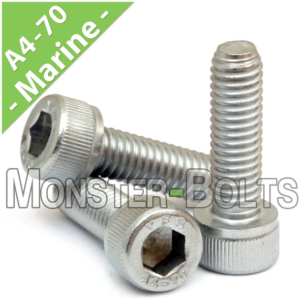 M8 Stainless Steel Socket Head Cap screws, Marine Grade A4 (316) - Monster Bolts