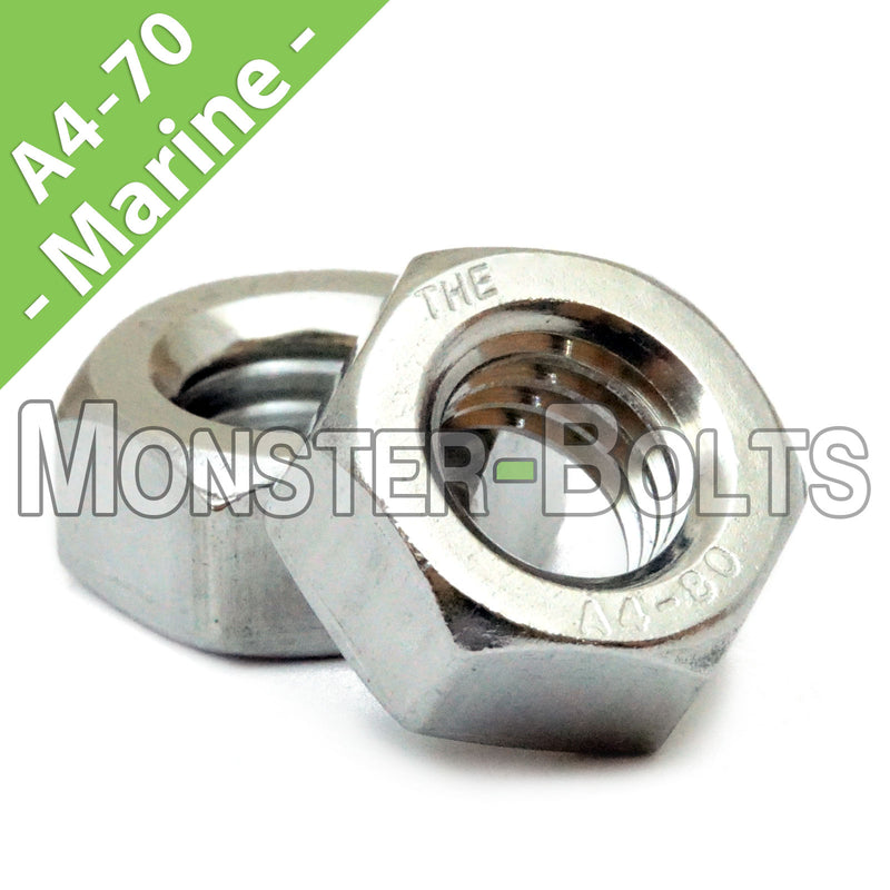 Marine Grade Stainless Steel Hex Nuts, A4 (316) DIN 934 - Metric Coarse - Monster Bolts