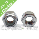 Marine Grade Stainless Steel Nylon Insert Hex Lock Nuts, A4 (316) DIN 985 - Metric Coarse - Monster Bolts