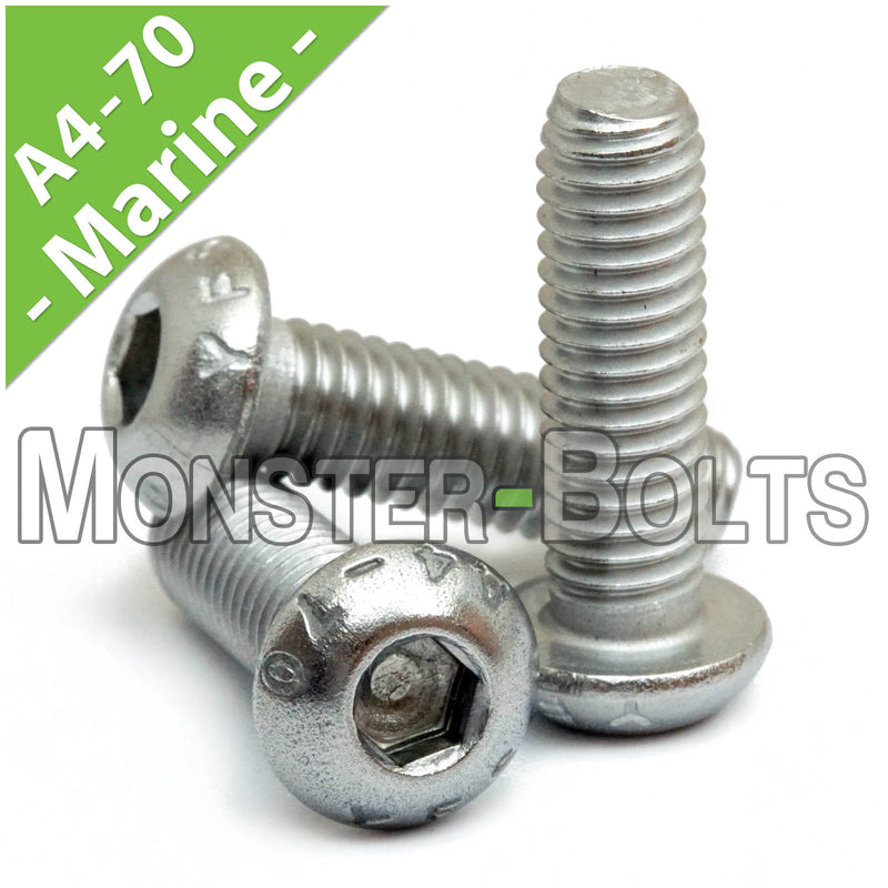 MonsterBolts Marine Grade button head socket cap screws arranged in a group of 3.