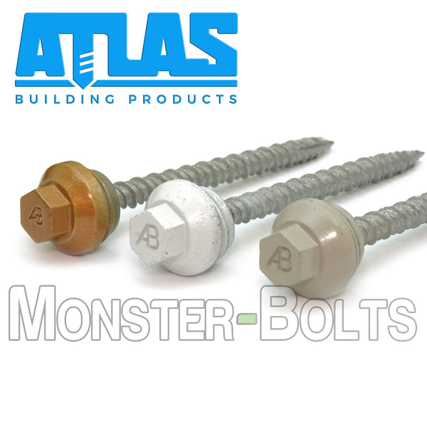 "Atlas Fasteners - #10 x 2-1/2"" Wood Ultimate Painted screw, Metal-to-Wood Self Tapping Roofing Screws"