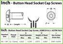 #6-32  Stainless Steel Button Head Socket Caps screws - 18-8 / A2