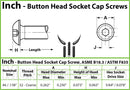 #8-32  Button Head Socket Caps screws - Alloy Steel w/ Thermal Black Oxide