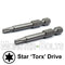 "2-Inch Star (Torx) Hex Shank Screwdriver / Drill Bits, S2 Steel 1/4"" - Monster Bolts"