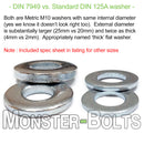 Thick Flat Washers, DIN 7349 Low Carbon Steel Zinc Plated Cr+3 RoHS M4 M5 M6 M8 M10 - Monster Bolts