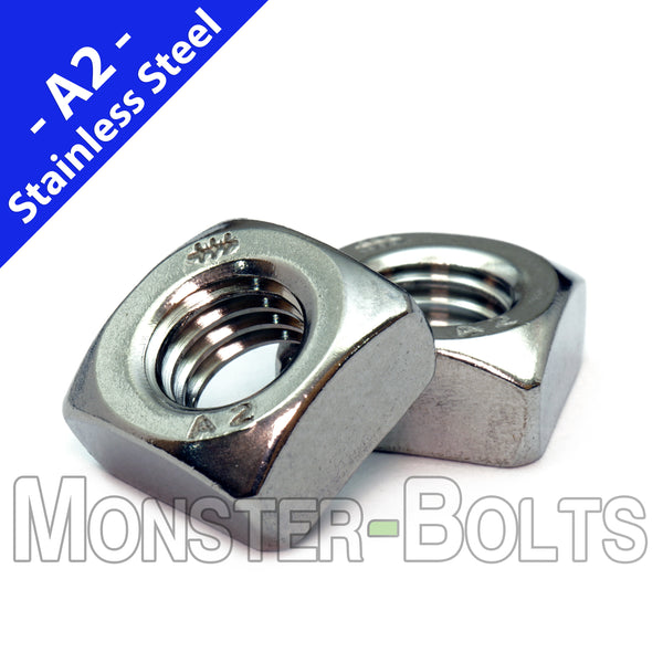 Metric Chamfered Square Nuts DIN 557, A2 Stainless Steel