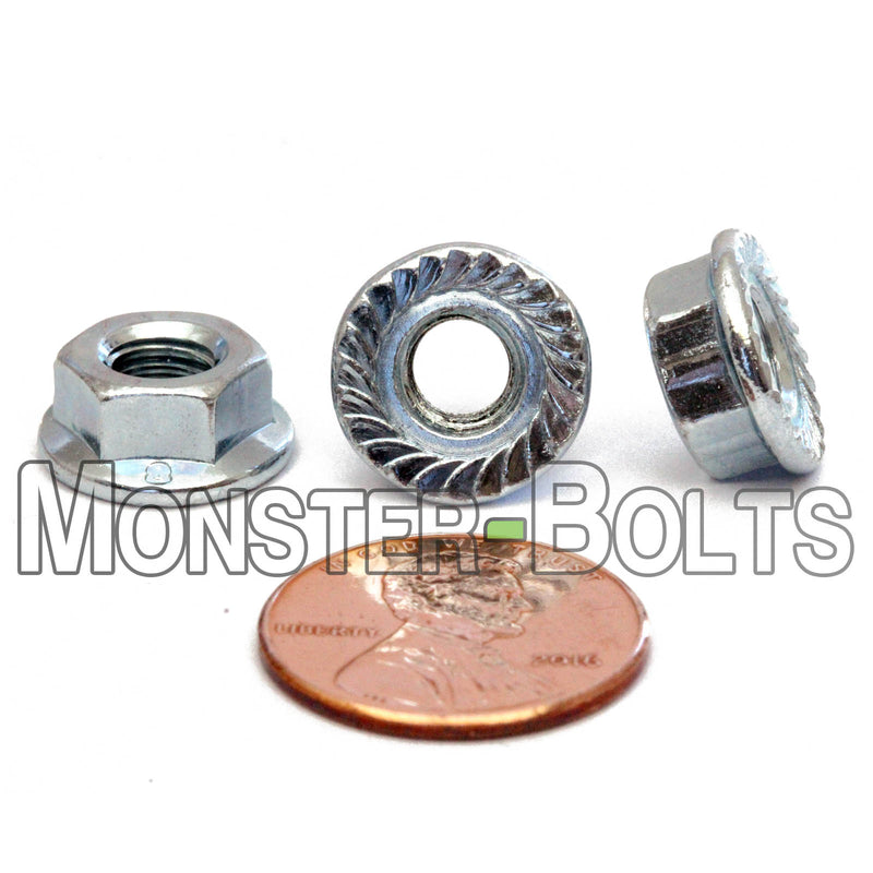 Metric Hex Serrated Flange Nuts - Zinc Plated Class 8 Alloy Steel DIN 6923 / ISO 4161