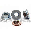 Metric Hex Flange Nuts - Zinc Plated Class 8 Alloy Steel DIN 6923 / ISO 4161 - Monster Bolts