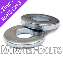 Thick Flat Washers, DIN 7349 Low Carbon Steel Zinc Plated Cr+3 RoHS M4 M5 M6 M8 M10