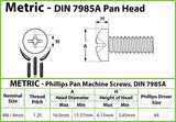 8mm (M8) - Stainless Steel Phillips Pan Head Machine screws DIN 7985 A