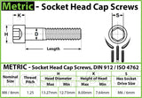 8mm / M8 x 1.25 - Stainless Steel SOCKET HEAD Caps screws DIN 912 / ISO 4762