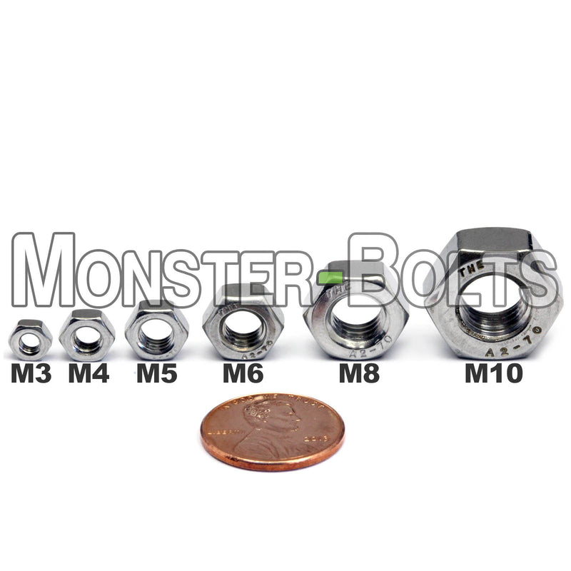 Metric Hex Nuts, Stainless Steel DIN 934 A2 / 18-8 - Monster Bolts