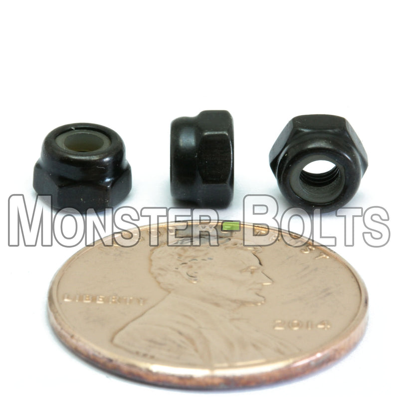Metric Nylon Insert Hex Lock Nuts - DIN 985 Black Oxide Steel Class 8 - Monster Bolts