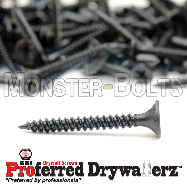 "#6-18 x 1-1/4"" Fine Thread Phillips Bugle Head Drywall Screws w/ Piercing Point, Steel Black Phosphate"